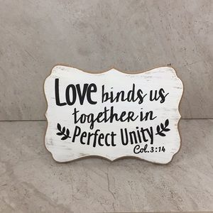 Love Binds Together Unity Rustic Decor Col. 3:14